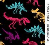 dinosaurs skeletons fossils... | Shutterstock .eps vector #1483954073