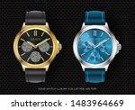 realistic clock watch...   Shutterstock .eps vector #1483964669