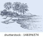 vector seascape. palm trees...
