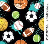 seamless sport pattern with... | Shutterstock .eps vector #1483978613
