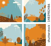 autumn banners  set of abstract ... | Shutterstock .eps vector #1483982486