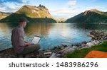man working wireless outdoors...   Shutterstock . vector #1483986296