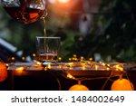 bartender hand pouring whiskey... | Shutterstock . vector #1484002649