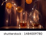 out of focus. whiskey in glass... | Shutterstock . vector #1484009780