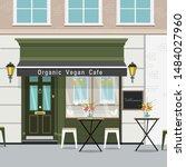 organic vegan cafe in a flat... | Shutterstock .eps vector #1484027960