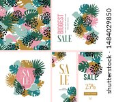 exotic leaves fashion and... | Shutterstock .eps vector #1484029850