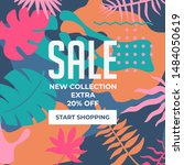 sale website banner. sale tag.... | Shutterstock .eps vector #1484050619
