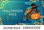 halloween sale  blue horizontal ... | Shutterstock .eps vector #1484054339