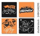 set of halloween greeting card... | Shutterstock .eps vector #1484148290