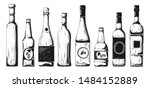 different bottles with alcohol. ...   Shutterstock .eps vector #1484152889