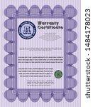 violet retro warranty template. ... | Shutterstock .eps vector #1484178023