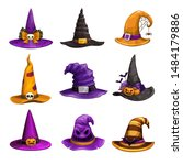 cartoon witch hats  colorful... | Shutterstock .eps vector #1484179886