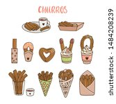 set of churros  different ways... | Shutterstock .eps vector #1484208239