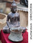 Small photo of Georgia, Tbilisi - March 2019: unusual flea market with big assortment of antiques, bric-a-brac on sale and old bronze statues of of Indian gods. Old Market (Dry Bridge), ancient market in Tbilisi.