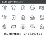 baby clothes vector line icons... | Shutterstock .eps vector #1484247536