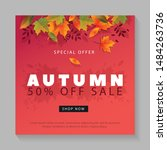 autumn sale design with falling ... | Shutterstock .eps vector #1484263736