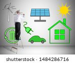 man on a ladder drawing clean... | Shutterstock . vector #1484286716