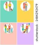 happy family set raster banner... | Shutterstock . vector #1484292479