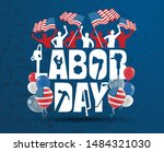 vector illustration happy labor ... | Shutterstock .eps vector #1484321030