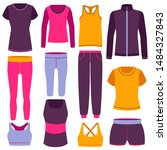 cartoon color clothes fitness... | Shutterstock .eps vector #1484327843
