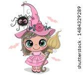cute cartoon witch in pink... | Shutterstock .eps vector #1484329289