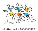 running race marathon line art... | Shutterstock .eps vector #1484345399
