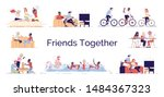 friends fun together flat... | Shutterstock .eps vector #1484367323