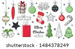 set of hand drawn christmas... | Shutterstock .eps vector #1484378249