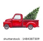 watercolor red car  truck with... | Shutterstock . vector #1484387309