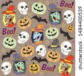 halloween poster design set... | Shutterstock . vector #1484400539