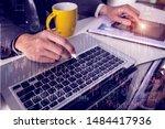 businessman and woman... | Shutterstock . vector #1484417936