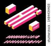 isometric alphabet font. 3d... | Shutterstock .eps vector #1484434403