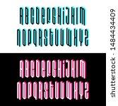 isometric alphabet font. 3d... | Shutterstock .eps vector #1484434409