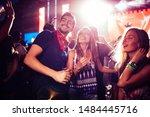 cheerful crew dancing together...   Shutterstock . vector #1484445716