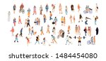 crowd people set. flat... | Shutterstock .eps vector #1484454080