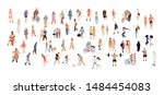crowd people set. flat... | Shutterstock .eps vector #1484454083