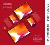 mockup of smartphones  tablets... | Shutterstock .eps vector #1484465729