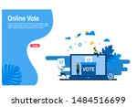 online vote with tiny people... | Shutterstock .eps vector #1484516699