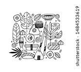 sushi doodle design. linear... | Shutterstock .eps vector #1484533619
