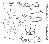 hand drawn collection of curly... | Shutterstock .eps vector #1484548469