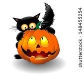Halloween Cat Cartoon Biting A...