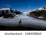 Salmon Glacier at Hyder Alaska, moonlight and star trail