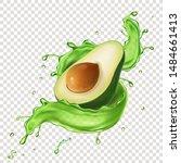 green avocado fruit juice...   Shutterstock .eps vector #1484661413