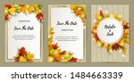 wedding invites set with... | Shutterstock .eps vector #1484663339