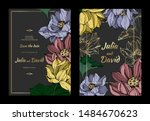 vector lotus floral botanical... | Shutterstock .eps vector #1484670623