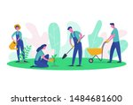 people characters gardener and... | Shutterstock .eps vector #1484681600