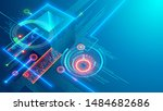 digital background. cube or box ... | Shutterstock . vector #1484682686