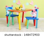 tasty baby fruit puree and baby ... | Shutterstock . vector #148472903