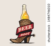 Beer And Boot Vector...