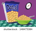 bowl of cereal with box on table | Shutterstock .eps vector #148475384